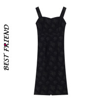 Dress Summer 2021 Forbidden Rose  S,M,L Mid length dress singleton  Sleeveless Sweet square neck Loose waist Decor Socket camisole 18-24 years old Type A Auricularia auricula, printing, open back, three-dimensional decoration, ruffle 31% (inclusive) - 50% (inclusive) other polyester fiber