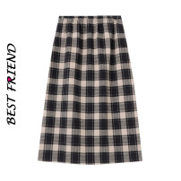 skirt Autumn 2020 S,M,L brown longuette commute High waist A-line skirt lattice Type A 18-24 years old 81% (inclusive) - 90% (inclusive) other zipper