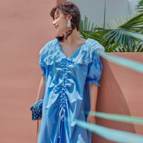 Dress Summer 2020 sky blue Average size Mid length dress singleton  Short sleeve street Doll Collar Loose waist Solid color Socket other routine Others Type H Other / other Pleats, folds, lace 71% (inclusive) - 80% (inclusive) other polyester fiber Europe and America