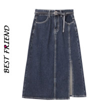 skirt Spring 2021 S,M,L,XL Blue grey Mid length dress commute High waist A-line skirt Solid color Type A 18-24 years old 81% (inclusive) - 90% (inclusive) Denim cotton pocket
