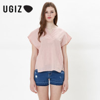 shirt Light pink / LP dark blue / Na 80/XS 85/S 90/M Summer 2017 cotton 51% (inclusive) - 70% (inclusive) Short sleeve commute Regular other Socket routine Solid color 25-29 years old Self cultivation UGIZ Simplicity UBSA590A Cotton 63% ramie 37% Same model in shopping mall (sold online and offline)
