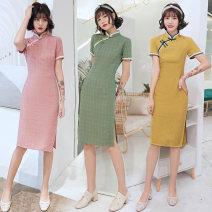 cheongsam Summer 2020 S M L XL XXL 3XL 9000 green 8998 pink 8999 yellow Short sleeve Short cheongsam ethnic style Low slit daily Oblique lapel Decor Piping RQ9000 Ran Ting cotton Cotton 75% polyester 25%