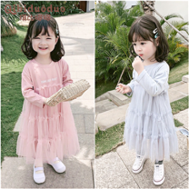 Dress blue female Kibby dodo Size 7 is about 90cm, size 9 is about 100cm, size 11 is about 110cm, size 13 is about 120cm, size 15 is about 130cm Other 100% spring and autumn Korean version Long sleeves other other Splicing style 6rcREO Class B