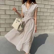 Dress Summer 2020 Apricot, pink, blue Average size longuette singleton  Sleeveless Solid color Single breasted routine Others 25-29 years old Other / other 51% (inclusive) - 70% (inclusive) other cotton