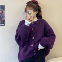 sweater Autumn 2020 Average size Grape purple sweater, cream goose yellow sweater, orange juice sweater, fleece base Long sleeves Cardigan singleton  acrylic fibres 71% (inclusive) - 80% (inclusive) Crew neck Sweet routine Solid color Straight cylinder Keep warm and warm 18-24 years old Other / other