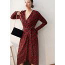 Dress Spring 2021 safflower S,M,L,XL,2XL Mid length dress singleton  Long sleeves V-neck Decor Pile sleeve Type X Guandong 31% (inclusive) - 50% (inclusive) knitting cotton