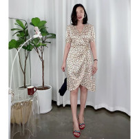 Dress Summer 2020 Beige S,M,L,XL Middle-skirt singleton  Short sleeve commute V-neck High waist other A-line skirt bishop sleeve Others Type A Guandong lady L3611 More than 95% Silk and satin silk