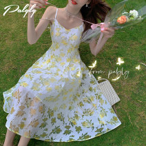 Dress Summer 2021 yellow S M L Middle-skirt singleton  Sleeveless Sweet High waist zipper Big swing camisole 25-29 years old Palglg More than 95% other other Other 100% Pure e-commerce (online only)