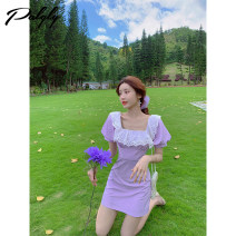Dress Summer 2020 Purple dress S M L Middle-skirt singleton  Short sleeve commute square neck High waist Solid color zipper A-line skirt puff sleeve Others 18-24 years old Palglg Korean version Embroidered pleated stitching strap zipper 02PD10726 More than 95% other Other 100%