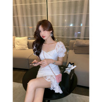 Dress Summer 2021 White dress S M L Middle-skirt singleton  Short sleeve commute square neck High waist Solid color zipper Ruffle Skirt routine Others 18-24 years old Palglg Korean version Three dimensional decorative zipper with lace and bright silk fold 02PD10896 More than 95% other Other 100%