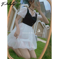 Dress Summer 2021 black and white S M L Middle-skirt singleton  Short sleeve Sweet V-neck High waist Princess Dress puff sleeve 25-29 years old Palglg Three dimensional decorative zipper 12PD12801 More than 95% other other Other 100% Pure e-commerce (online only)