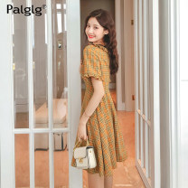 Dress Summer of 2019 orange S M L Mid length dress singleton  Short sleeve commute Lotus leaf collar middle-waisted lattice Single breasted Big swing Lotus leaf sleeve Others 18-24 years old Type A Palglg Simplicity Button zipper with ruffle stitching 92PD8732 81% (inclusive) - 90% (inclusive) other