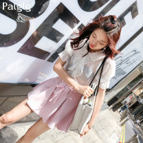 skirt Autumn of 2019 S M L Pink Short skirt Versatile High waist A-line skirt Solid color 18-24 years old 81PB0066 81% (inclusive) - 90% (inclusive) Palglg polyester fiber Pleated strap zipper Polyester 88.9% polyurethane elastic fiber (spandex) 11.1% Pure e-commerce (online only)