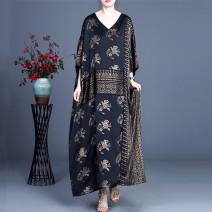 Women's large Spring 2021, summer 2021 black Average size Dress singleton  commute easy thin Socket Short sleeve Retro V-neck SGYY5027 longuette