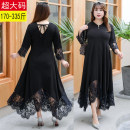 Women's large Autumn of 2019 Dress singleton  commute Self cultivation thin Socket three quarter sleeve Solid color Korean version V-neck other Collage Princess sleeve Other / other 25-29 years old Lace stitching 91% (inclusive) - 95% (inclusive) longuette Irregular skirt Hollowing out