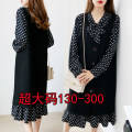 Women's large Autumn of 2019 suit Big 3XL [recommended 130-155 kg], big 4XL [recommended 155-180 kg], big 5XL [recommended 180-210 kg], big 6xl [recommended 210-240 kg], big 7XL [recommended 240-260 kg], big 8xl [recommended 260-290 kg] Two piece set commute easy moderate Long sleeves Dot V-neck bow