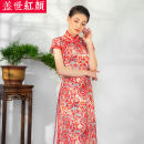 cheongsam Summer 2020 S ml XL XXL private customization / contact customer service Short sleeve long cheongsam Simplicity High slit daily Straight front Decor Piping Beauty of the world silk Mulberry silk 100% Same model in shopping mall (sold online and offline) 96% and above