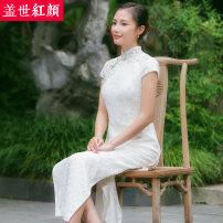 cheongsam Summer of 2018 S ml XL private customization (service fee 1500) white Short sleeve long cheongsam literature High slit daily double-breasted  Decor 25-35 years old Piping Elegant cheongsam Beauty of the world polyester fiber Polyester 100% 96% and above