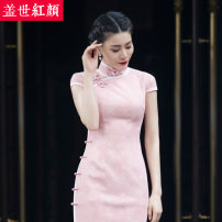 cheongsam Spring of 2018 Custom made / ready made xxlsmlxl light pink Short sleeve Short cheongsam grace High slit Appointment Semicircle lapel Decor 25-35 years old Piping Fan Ling Beauty of the world Polyester 100%