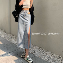 skirt Summer 2021 S,M,L,XL Light blue, black gray Mid length dress Versatile High waist skirt Solid color Type A Denim Button