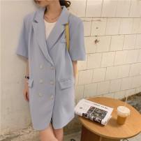 Dress Summer 2021 Blue, black Average size Short skirt Short sleeve commute Polo collar double-breasted Korean version