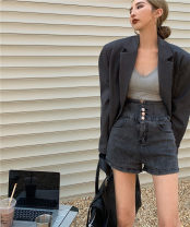 Jeans Summer 2021 Blue, black and gray S,M,L shorts High waist Straight pants routine 18-24 years old other light colour Other / other 51% (inclusive) - 70% (inclusive)