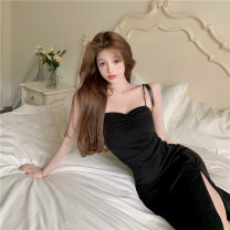 Dress Summer 2021 black Average size Mid length dress singleton  Sleeveless commute other High waist Solid color Socket One pace skirt other camisole 18-24 years old Type H Other / other Korean version 51% (inclusive) - 70% (inclusive) other cotton