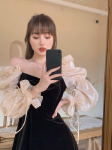 Dress Spring 2021 black S, M Short skirt singleton  Long sleeves commute square neck High waist Solid color Socket A-line skirt routine Others 18-24 years old Type A Other / other Korean version Splicing 31% (inclusive) - 50% (inclusive) other other