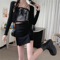 Vest sling Spring 2021 Black cardigan , skirt , Lattice sling S. M, l, average size singleton  have cash less than that is registered in the accounts Self cultivation commute camisole lattice 18-24 years old 31% (inclusive) - 50% (inclusive) other Other / other