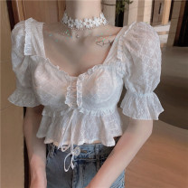 shirt white S, M Spring 2021 other 31% (inclusive) - 50% (inclusive) Short sleeve commute Short style (40cm < length ≤ 50cm) square neck Socket routine Solid color 18-24 years old Straight cylinder Other / other Korean version