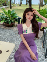 Dress Summer 2021 violet Average size longuette singleton  Short sleeve commute other High waist other Socket A-line skirt routine Others 18-24 years old Type A Other / other Korean version 31% (inclusive) - 50% (inclusive) knitting other