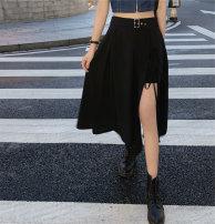 skirt Summer 2020 M,L,XL,2XL,3XL,4XL black longuette Retro High waist Irregular Solid color Type A 18-24 years old Lace up, three-dimensional decoration, asymmetric