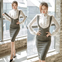 Dress Autumn of 2019 S,M,L,XL Mid length dress Two piece set Long sleeves commute stand collar middle-waisted Solid color Single breasted One pace skirt routine straps 25-29 years old Type H Korean version 81% (inclusive) - 90% (inclusive) Lace Cellulose acetate