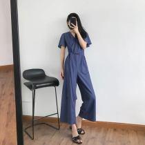Casual pants blue S M L Summer of 2018 Ninth pants Straight pants High waist commute routine 18-24 years old KK580 Korean version belt