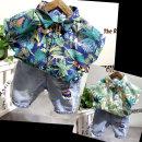 shirt Tibetan blue and white shirt, light colored shirt, 12722 jeans shorts, one Tibetan blue and white shirt + 12722 shorts Other / other male 90cm7, 100cm9, 110cm11, 120cm13, 130cm15 summer Short sleeve Broken flowers cotton Lapel and pointed collar Class B