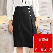 skirt Autumn 2020 XS,S,M,L black Middle-skirt commute Natural waist Irregular Type H 25-29 years old 2007T27 Betu / Baitu polyester fiber Button Ol style