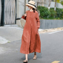 Dress Spring 2021 M Mid length dress singleton  Long sleeves commute V-neck Loose waist Solid color Single breasted Big swing Petal sleeve Others Type H literature More than 95% hemp