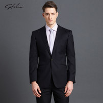 man 's suit Business gentleman black Satchi routine 52BY 814163015-041-50A Wool 86.4% Silk 13.6% Winter 2017 Same model in shopping mall (sold online and offline)