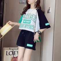 Women's large Summer 2021 Green [two-piece suit], orange [two-piece suit], pink [two-piece suit], single white T-shirt Large L, large XL, m, 2XL, 3XL, 4XL thin other 30% and below shorts