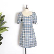 Dress Summer 2020 S,M,L Short skirt singleton  Short sleeve commute other High waist A-line skirt puff sleeve Others Type A Simplicity Bandage