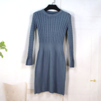 Dress Autumn 2021 sky blue Average size Middle-skirt singleton  Long sleeves Sweet Crew neck High waist Solid color A-line skirt other Type X 30% and below knitting other