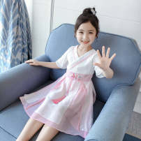Dress Pink female Other / other 110 for 100-110cm height, 120 for 110-120cm height, 130 for 120-130cm height, 140 for 130-140cm height, 150 for 140-150cm height, 160 for 150-160cm height Other 100% summer literature Short sleeve Solid color cotton Lotus leaf edge Class A