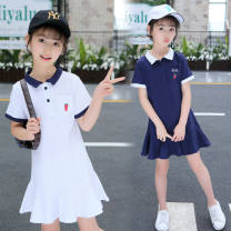 Dress White, Navy female Other / other 110, 120, 130, 140, 150, 160 Other 100% summer college Short sleeve Solid color cotton A-line skirt Class A Chinese Mainland
