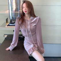 Fashion suit Autumn 2020 S,M,L Lotus pink top + Lotus pink skirt , Black grey top + Black grey skirt 25-35 years old one thousand six hundred and seventy-three # 96% and above