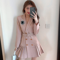 Dress Winter 2020 Pink S,M,L,XL Short skirt singleton  Long sleeves commute tailored collar High waist lattice double-breasted Pleated skirt routine Others 25-29 years old Type A Korean version Button, button More than 95% other other