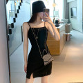 Dress Summer 2021 black S,M,L Short skirt singleton  Sleeveless commute One word collar High waist Solid color Socket One pace skirt routine camisole Type A Korean version backless 682# 31% (inclusive) - 50% (inclusive) other polyester fiber