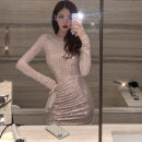 Dress Autumn 2020 Picture color S,M,L Short skirt singleton  Long sleeves commute Crew neck High waist Solid color Socket One pace skirt routine Others 25-29 years old Type X Pleating, pleating, stitching, lace 7080# More than 95% other nylon