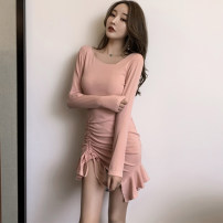 Dress Autumn 2020 Pink, black S,M,L Short skirt singleton  Long sleeves commute High waist Solid color zipper routine 25-29 years old Type A Korean version More than 95% other cotton