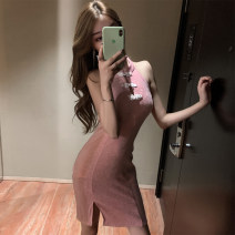 Dress Summer 2020 Pink S,M,L Short skirt singleton  Sleeveless commute stand collar High waist Solid color A button routine 25-29 years old Backless, embroidered, sequined More than 95% other other