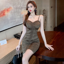Dress Summer 2021 coffee S,M,L Short skirt singleton  Sleeveless commute V-neck High waist Solid color Socket One pace skirt camisole Type H Korean version Pleated, open back 31% (inclusive) - 50% (inclusive) other polyester fiber